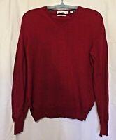 Calvin Klein ~ Women's Extra Fine Merino Wool Red Knit V-neck Sweater ~ Size M