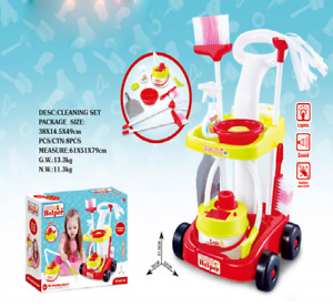 Cleaning Trolley Cart Childrens Role Play Toy Set & Working Vacuum Cleaner 456