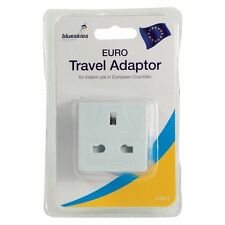 CE Approved Travel Adaptor Plug UK EU Europe Euro European 2 Pin Earthed - WHITE