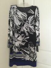 Womens INC Floral Brush Print Long Sleeve Border Sheath Dress Sz L