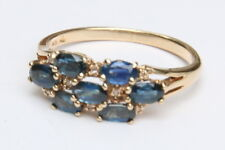 14k Solid Yellow Gold 2ctw Blue Sapphire & Diamond Cluster Band Ring Size 9.5