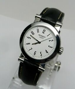 Womens Authentic Swiss Made MOVADO Vizio Sport Watch Tungsten Bezel White Dial