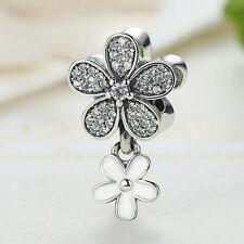 925 Sterling Silver Dazzling Daisy Duo White Enamel & Clear CZ Dangle Charm Bead