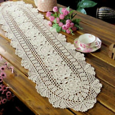 Vintage Handmade Crochet Table Runner Lace Hollow Cotton Home Table Cover Decor