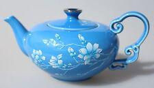 Finest Porcelain Tea Pot 15 OZ  Relief White Magnolia on Blue Dishwasher Safe