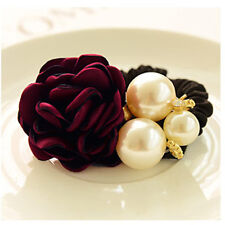 1X Women Lady Satin Ribbon Rose Flower Pearls Hairband Ponytail Holder Hair Band