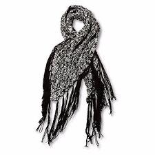 2016 NWT WOMENS VOLCOM EASY KNIT SCARF $44 black and white knit black fringe