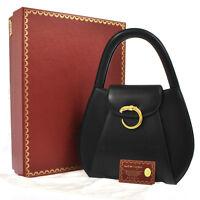 Authentic CARTIER Logos Panther Shoulder Bag Black Gold Leather Vintage NR08737