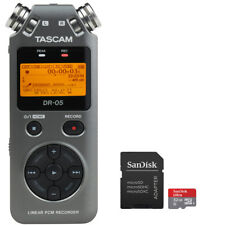 Tascam DR-05 Version 2 PCM Recorder (Grey) with Extra 32GB Memory Card