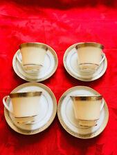 $120 NEW Set of 4 Noritake Crestwood Platinum China Teacup & Saucer