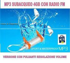 LETTORE MP3 RADIO FM SUBACQUEO IMPERMEABILE 4GB WATERPROOF NUOTO PISCINA CW50