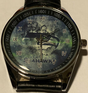 NFL SEATTLE SEAHAWKS Men or Ladies Black Leather Band Watch Beautiful Fashion