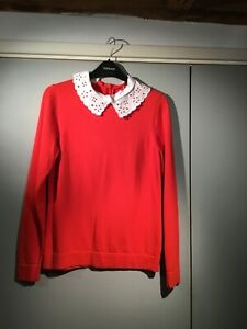Red christmas jumper white peter pan lace collar jaegar boutique size small