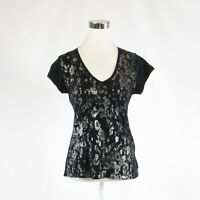 Black silver TAHARI stretch short sleeve blouse M