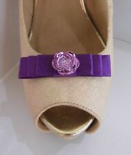 2 Small Purple Bow Clips for Shoes with Shiny Button Centre