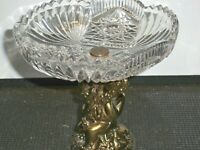 VINTAGE PRESSED GLASS AND METAL COMPOTE CANDY DISH/SOAP DISH  5 3/4''