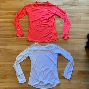 Nike Women's Running Shirt Long Sleeve Medium White & Orange 596447- Lot of 2