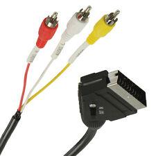 SCART ADAPTER KABEL - Scart auf 3 x Cinch - in/out umschaltbar - mit Schalter