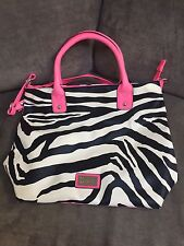 Womens Tote Purse Zebra Stripe With Pink Accents By Brash