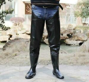 New Mens Thigh High Rain Boots Waterproof Pull On Over Knee Boots Black Shoes