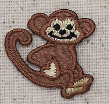Iron On Applique Embroidered Patch Small Brown Monkey with Tail Up