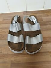 Ladies silver leather buckle Sandals Shoes size 5 by Newlook