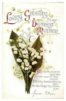Antique colour printed postcard card loving greeting to my dearest mother