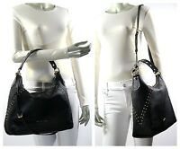 Michael Kors Aria STUDDED Medium Top Zip Leather Shoulder Bag Black NWT $448.00