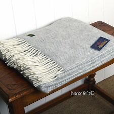 KNEE RUG Pure New Wool SILVER GREY Herringbone SMALL Throw BRITISH MADE Quality