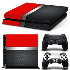 PS4 Playstation 4 Console Skin Decal Sticker Red Metal + 2 Controller Skins Set