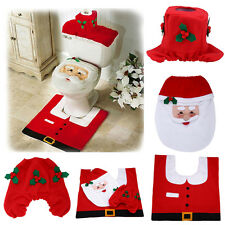 Universal Happy Santa Toilet Seat Cover Rug Bathroom Set Decoration Christmas