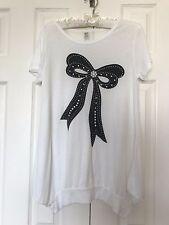Korean Fashion Glitter BOW Strappy Long Tee SHIRT Tunic DRESS CupCake Bubble Hem