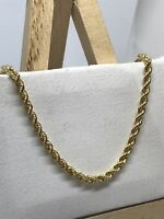 9ct 375 Hallmarked Yellow Gold 3mm Oval ROPE CHAIN NECKLACE ALL SIZE