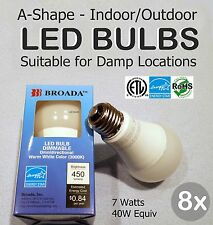8x Lot - LED 7w Bulbs Dimmable A19 E26 Indoor/Outdoor Damp Loc 40w Equiv-Broada