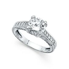 Solitaire Cz Vintage Style Engagement Ring 14k White Gold Anniversary Round Band
