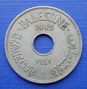 Palestine 10 Mils Coin, 1942 British Mandate, Copper Nickel 6.5g~KM#4~VF~X221