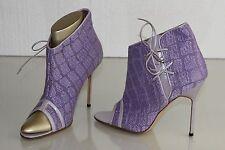 NEW Manolo Blahnik Lilac Purple Peep Toe BOOTIE Sandals Boots Shoes 40
