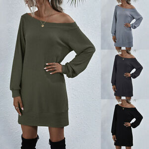 Womens Sexy Off Shoulder Tunic Mini Dress Ladies Long Sleeve Knitted Long Blouse