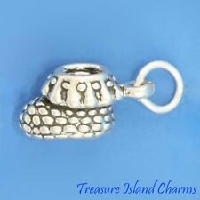 CUTE BABY SHOE KNIT BOOTIE 3D .925 Solid Sterling Silver Charm 12mm MADE IN USA