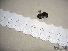 "14Yds Broderie Anglaise Eyelet lace trim 2.1""(5.3cm) white Yh Tiara laceking2013"
