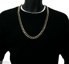 14k Gold Plated 12mm Stainless Steel Cuban Curb Link Chain Necklace 30 Inches