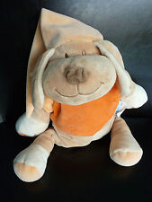 C6- DOUDOU PELUCHE BABIAGE CHIEN MUSICAL ORANGE BEIGE BONNET -  EXCELLENT ETAT