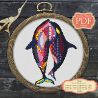 Mandala Whales - Cross stitch PDF Pattern - Zentangle animals - 134