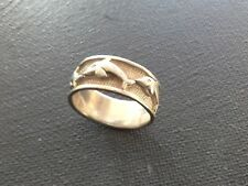 VINTAGE STERLING SILVER 925 DOLPHIN BAND RING MENS OR WOMENS SIZE 8.5 J022