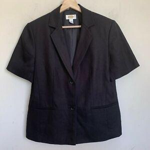 Talbots Womens Blazer Jacket Black Linen Short Sleeve Buttons Lined Size 10