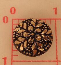 "Vintage black Czech glass shank button dark gold flower & foliage 7/8"" 1074"