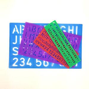 4x Alphabet Font Stencil Lettering Template Letter Ruler School Various Sizes