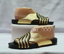 FENDI Gold and Black Edition Leather Slides Size 38