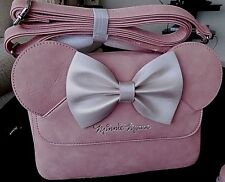 Disney/Loungefly Pink Simulated Leather Minnie Mouse W/Ears & Bow Crossbody