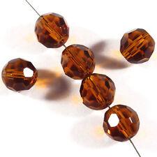 Lot de 20 perles à FACETTES 8mm en Cristal de Bohème Topaze Marron
